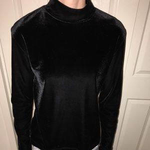 Genuine vintage black velvet mock turtleneck